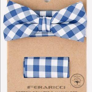 Men's Boys Blue Check Bow Tie Handkerchief Set NEW